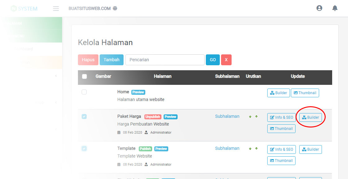 Mengakses Website Builder
